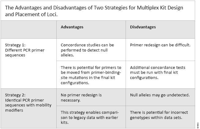 The Advantages and Disadvantages of Two Strategies for Multiplex Kit Design and Placement of Loci